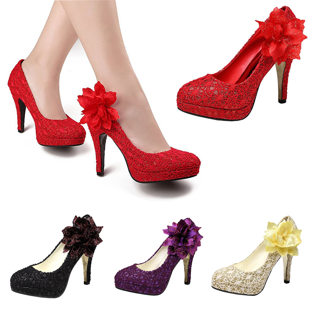 2af8bfcc01 Details about Women's Sexy Bridal Open Toe Wedge Pumps Comfort Party Shoes  Size 5 -10+Flower