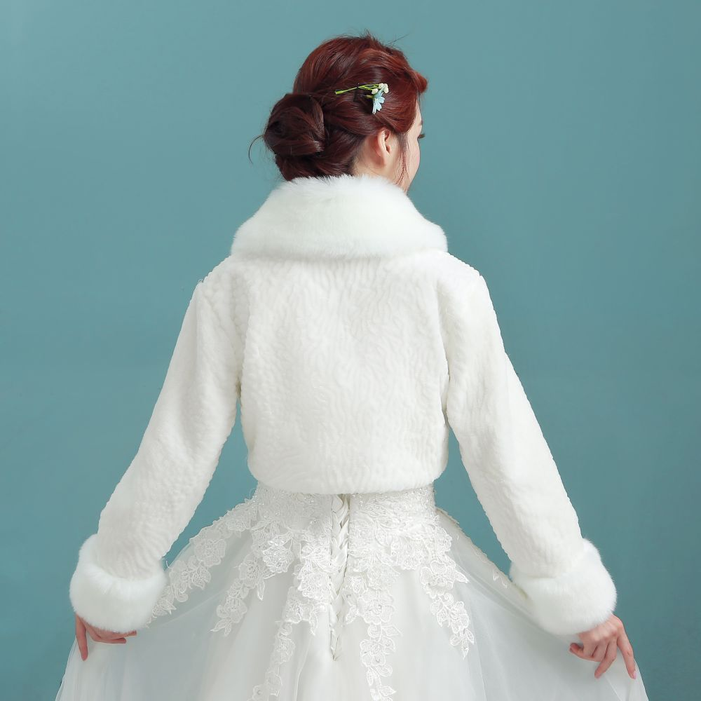Ivory Wedding Faux Fur Shawl Wrap Stole Shrug Coat Bridal Bridesmaid ...