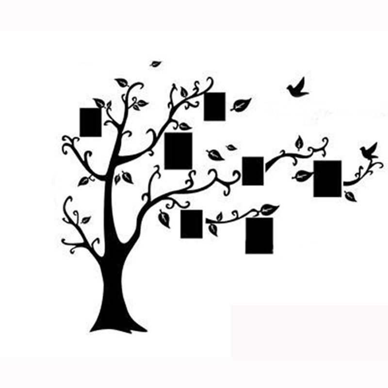 Large Family Tree Birds Photo Frame Quotes Wall Sticker Art Decals ...