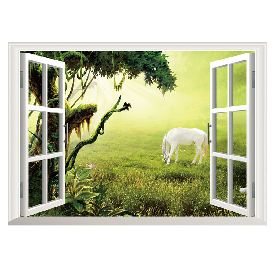 3D Window Tree Grassland Horse View Scenery Art Wall Sticker Decals ...