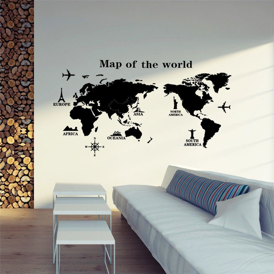 World Map Removable Wall Sticker.Large World Map Removable Vinyl Art Room Wall Sticker Decal Mural