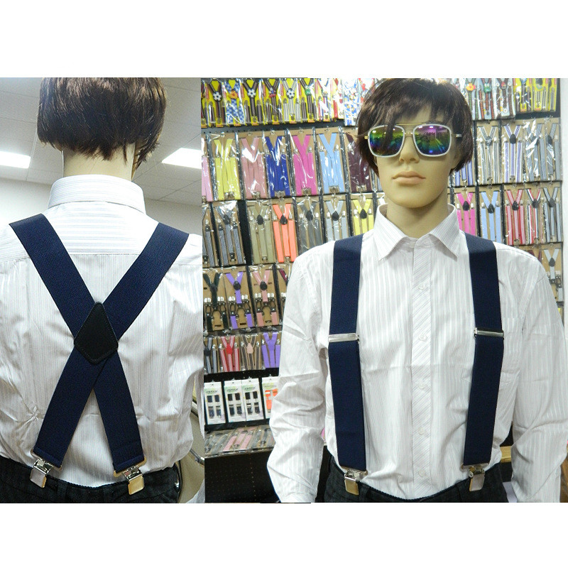 New Men Suspenders Pure Color X-Back Trousers Braces With Strong 4 Clip 5cm Wide