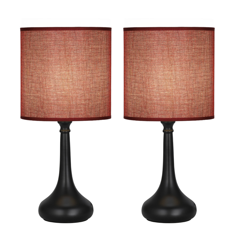 Details about Set of 2 Vintage Bedside Desk Table Lamps Wine Red,Blue Line  Fabric Lampshade