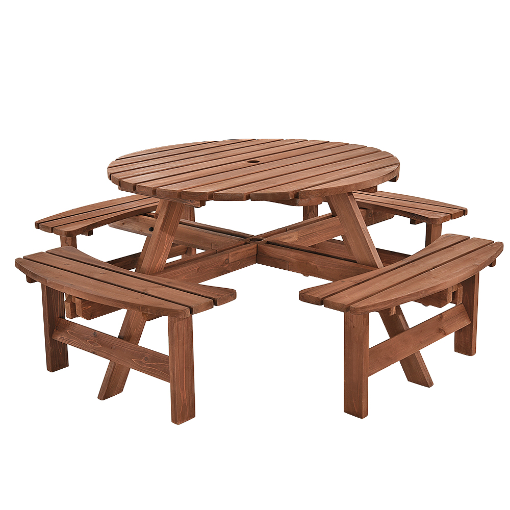Details about 8 seater round picnic table pub beer bench furniture garden patio cafe seater