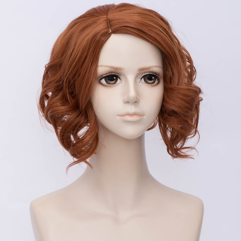 cosplay wig curly anime 30cm dark orange for the avengers black