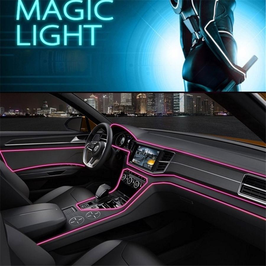 4m lichtleitfaser rosa led auto innenraum. Black Bedroom Furniture Sets. Home Design Ideas