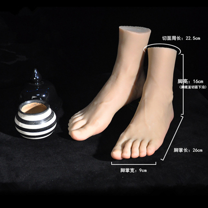 Silicone Men Feet Mannequin One Right Left Lifelike Model Legs Display Size 43