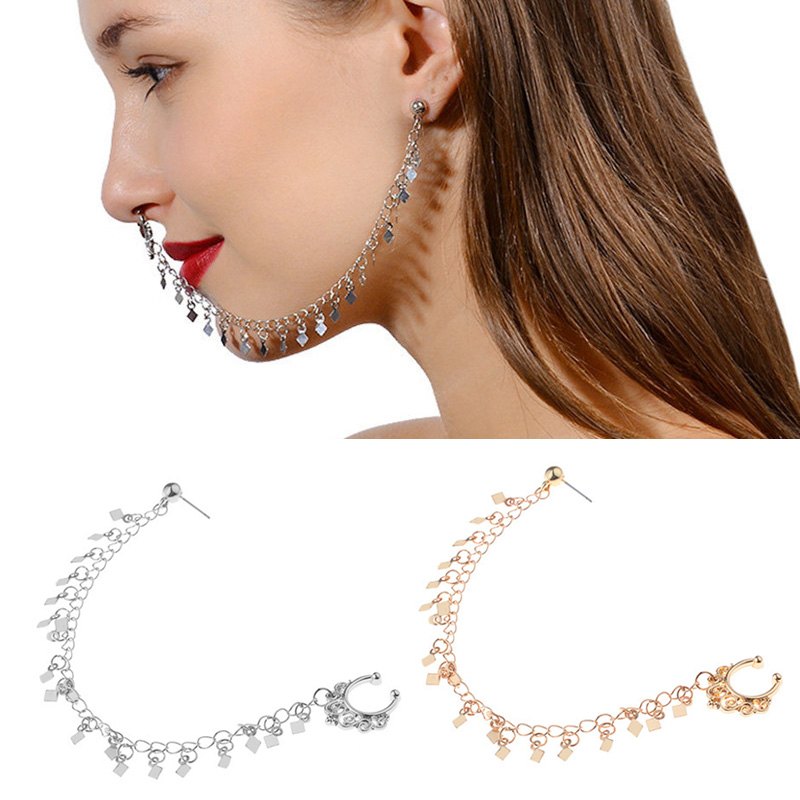 Women Boho Nose Ring Earrings Ear Stud Chain Tassel Body Piercing