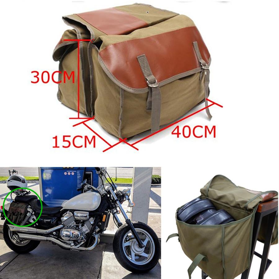 Universal Canvas+Leather Motorcycle ATV Saddle Bag Rear