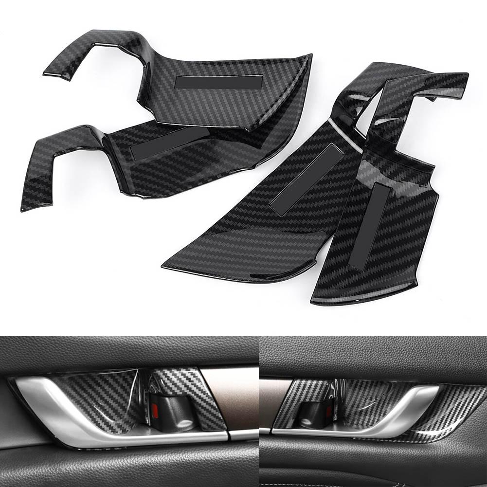 4pcs Carbon Fiber Inner Door Handle Bowl Cover Trim k For Honda Accord 2018 2019