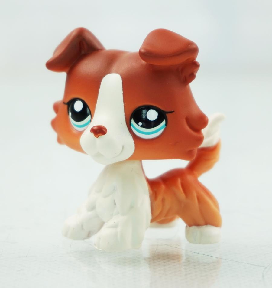 2 Brown White Collie Dog Blue Eyes Puppy Kids Toys Littlest Pet