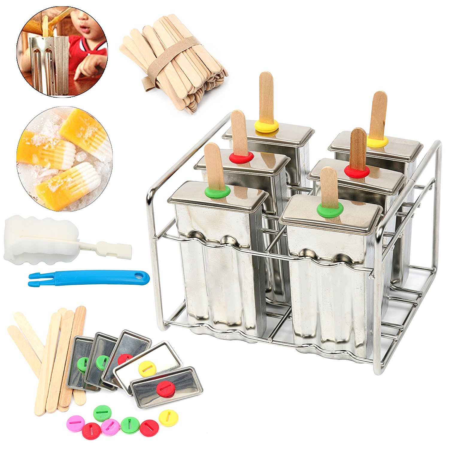 Stainless Steel Ice Lolly Popsicle Molds Kit 6Pcs Ice Pop Makers With Tray include 50 Reusable Bamboo Sticks Cleaning Brush