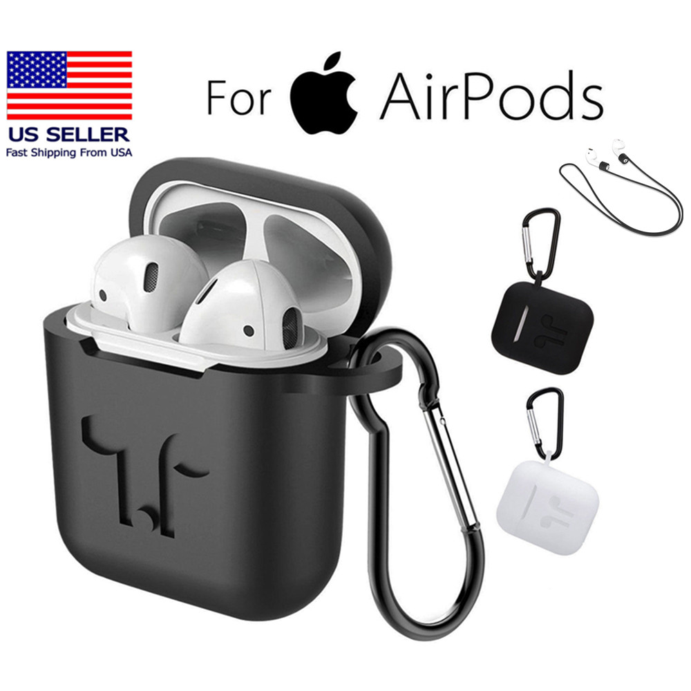 1417016056c Details about Apple AirPods Case Airpods Accessories Kit Protective  Silicone Cover Skin USPS