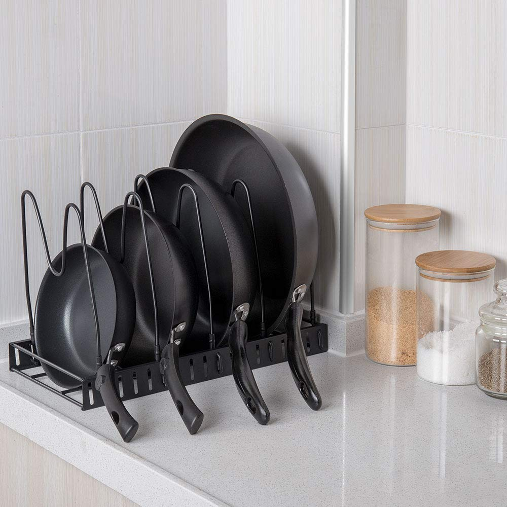 Expandable Lid Holder Pot and Pan Organizer Rack Cookware with 12 Adjustable Dividers for Kitchen Cabinet Pantry(2 PACK)