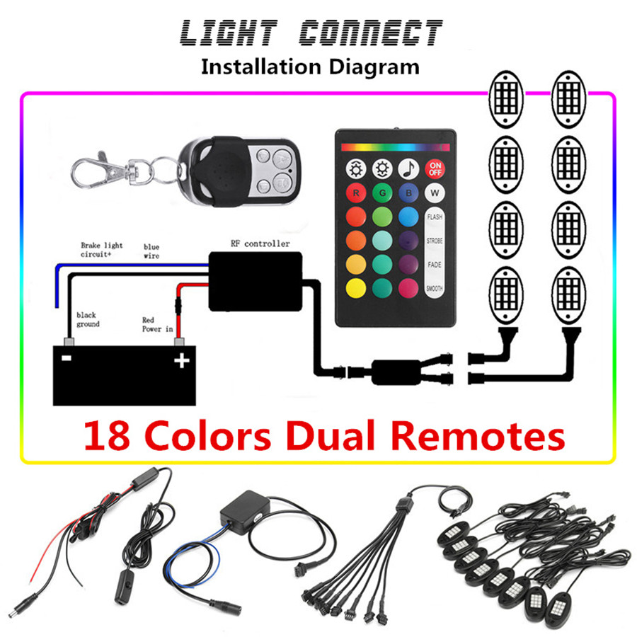 8x Rgb Led Multi Color Offroad Rock Lights Wireless Bluetooth Truck Colour Controller Connection Diagram 8pcs Ip68 Waterproof Remote Control They Are In Good Condition With The Adoption Of Solid Plastic Material And Delicate Workmanship