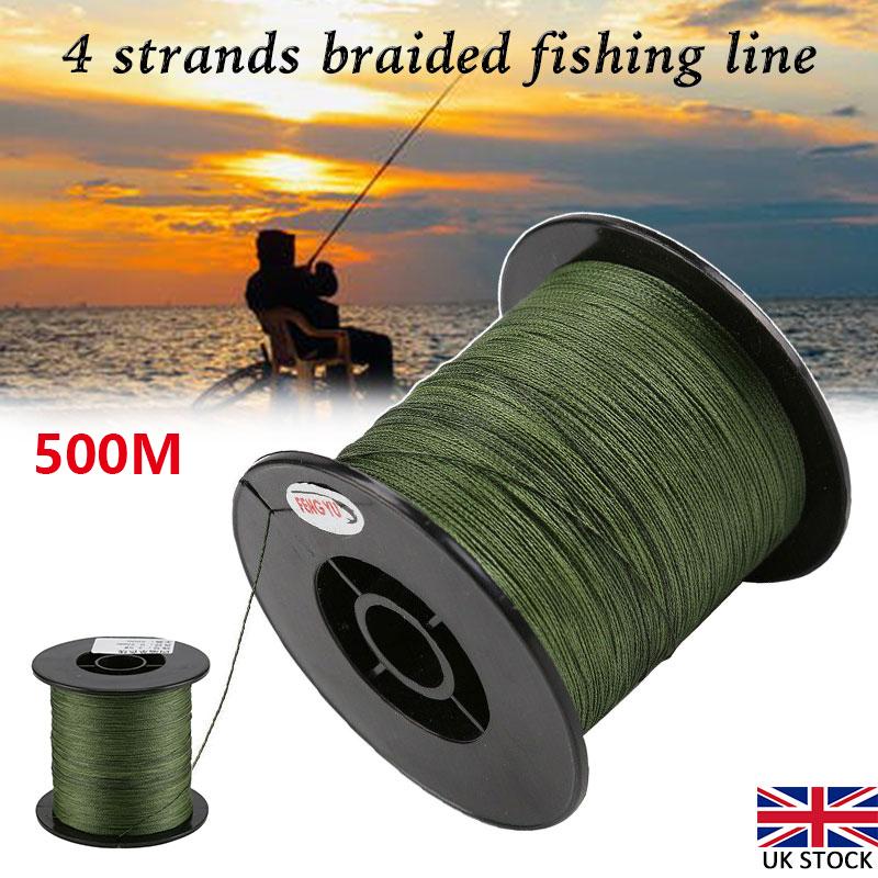 500M 30-50LB Fishing Line Strength PE Braided 4 Strands Sea Green Spod Marker UK