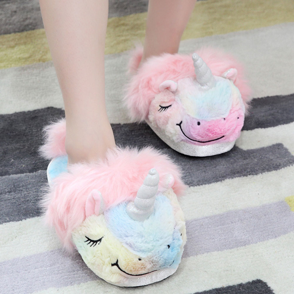 71f6cd639a47 Details about 3D Unicorn Adult Cartoon Plush Slipper Indoor Fluffy Shoes  Warm Flat Sandal