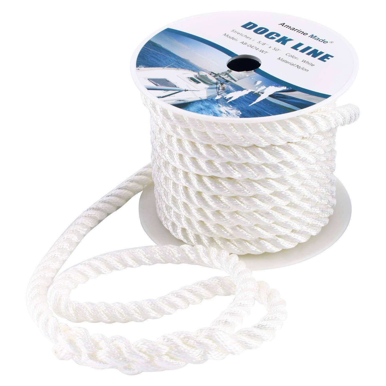 3//8 x 35/' REAL NYLON Black anchor rope dockline 3 Strand Twisted Multipurpose
