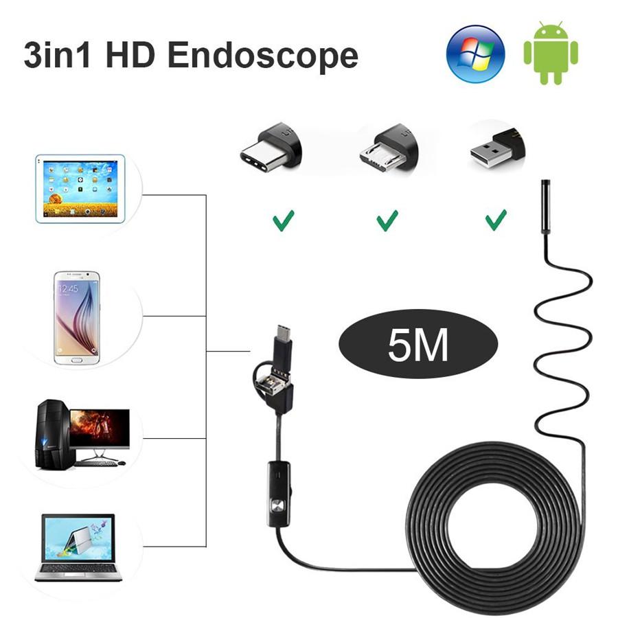 HD 8mm Objektiv Auto Inspektionskamera Endoskope 5M hart Kabel für Andriod WinOS
