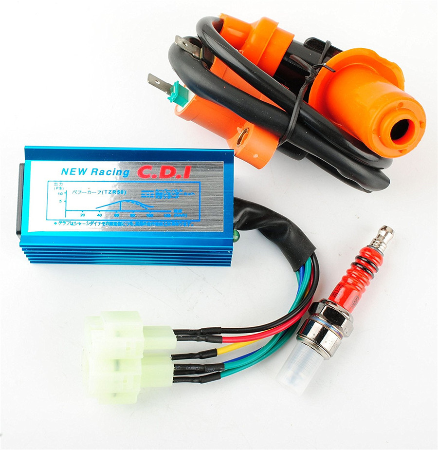 6 Pin Racing CDI with Wire Performance Racking Round Ac Fired Ignition Coil for Most GY6 50-250CC ATV Scooter Moped Go Kart