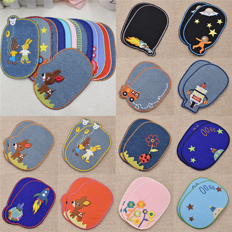 1 Pair Jeans Patches Repair Knee Cartoons Iron-on Sewing Applique Decorations