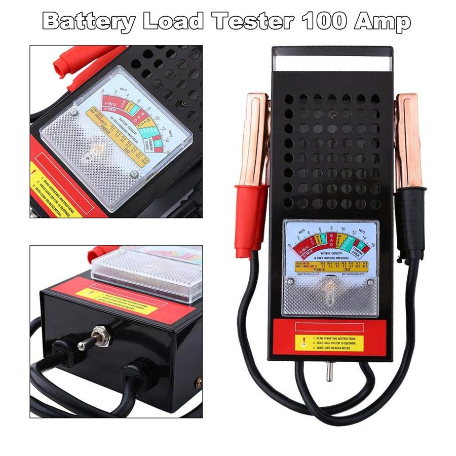 Analyze charging system /& Starter Motor New Accurate color-coded Quick Battery Load Tester 100 Amp Load Type For 6V /& 12V Car Truck Highly Sensitive Pointer Portable Battery Testing Appliance