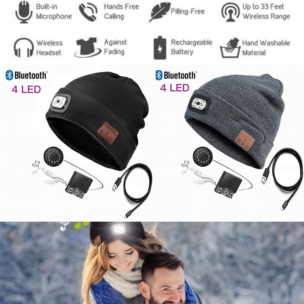 83440e1f320 Details about Xmas Present Unisex LED Bluetooth Music Beanie Hat Headset  With Rechargeable USB