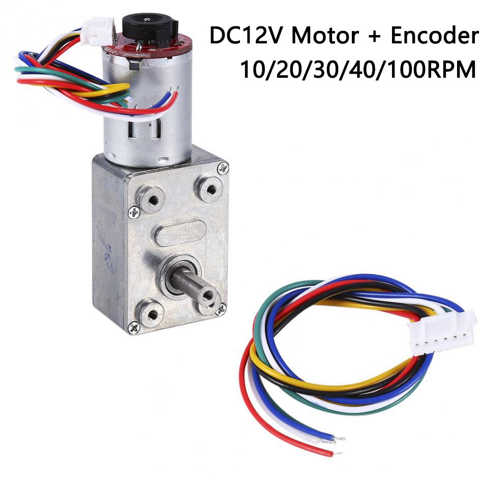 DC12V Alto Esfuerzo de torsión TurboGusanoEngranado Reducción Motor10-100 RPM