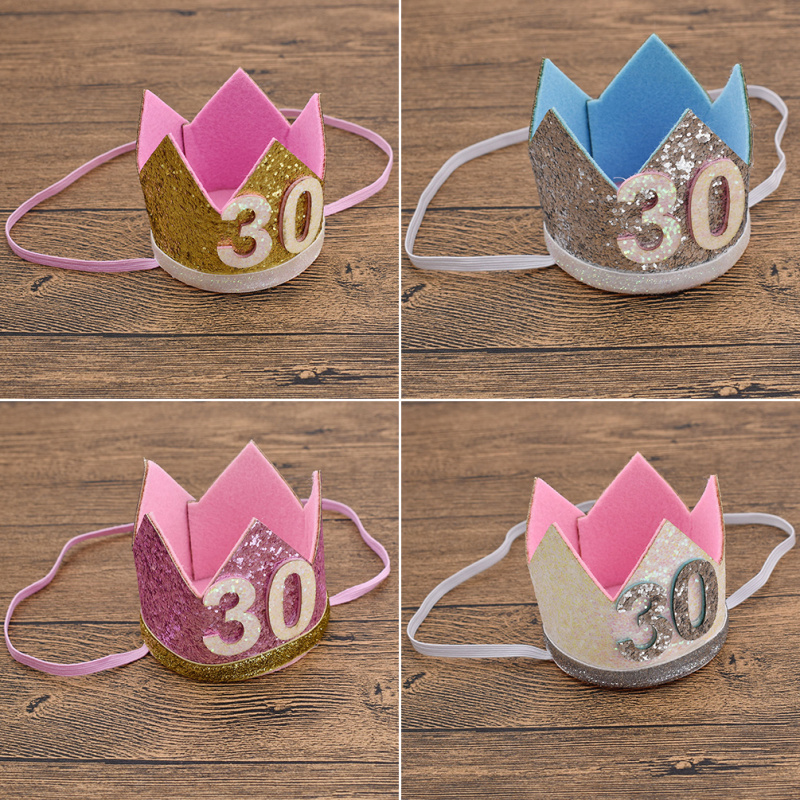 Details About Adult 30th Birthday Sequins Hats Cap Crown Prince Princess Party Decoration New