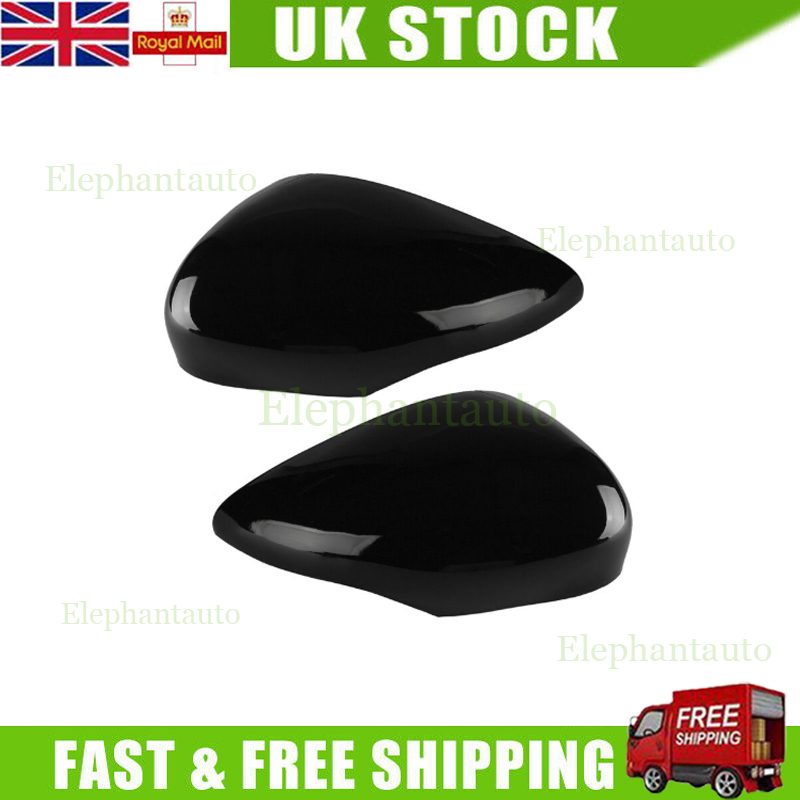 Pair Gloss Black Wing Mirror Cover Cap Painted For Ford Fiesta MK7 2008-2017 ZS