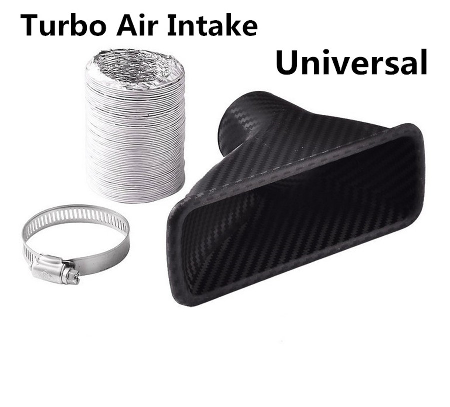 Universal Car Modified Front Bumper Air Intake Turbo Turbine Inlet Pipe Funnel Kit Duokon Inlet Pipe Air Funnel circle