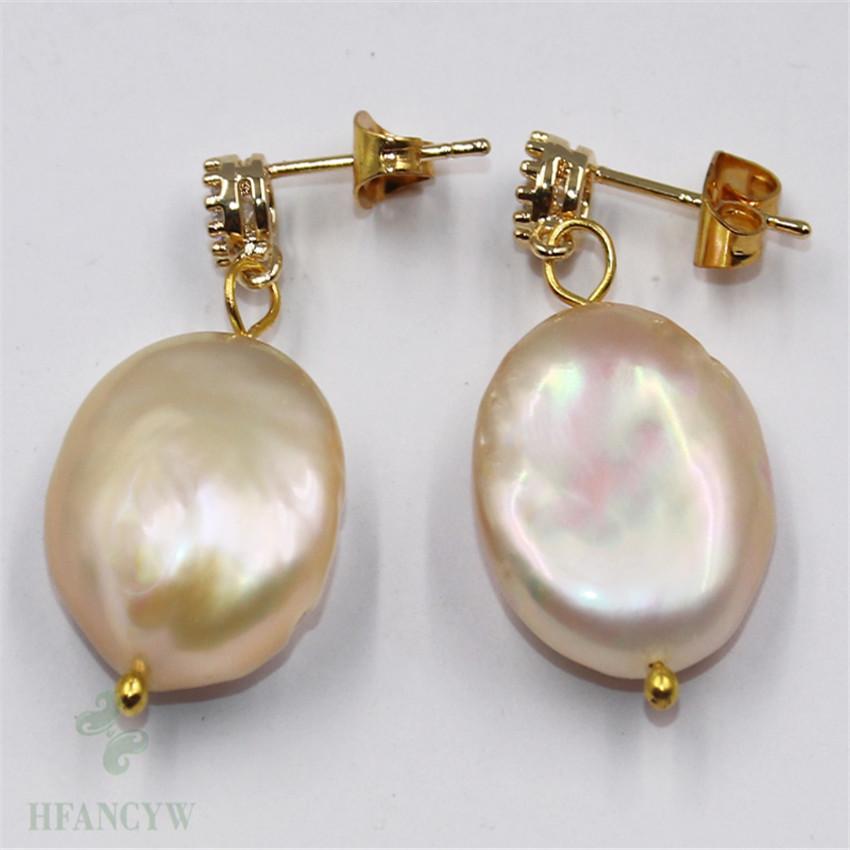 15-17mm Purple Baroque Pearl Earrings 18k Hook Flawless Gift Women Accessories