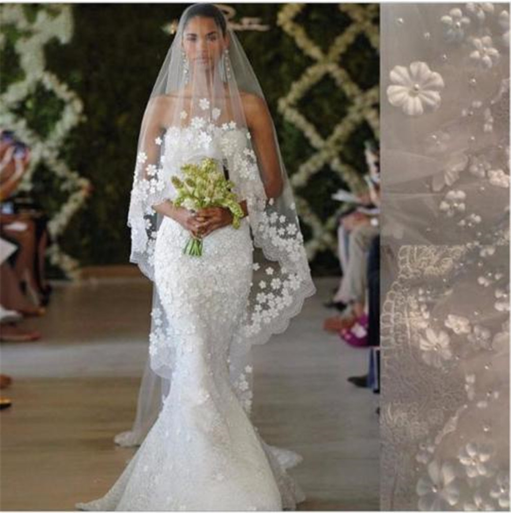 White/Ivory Cathedral Wedding Veil 1T 3M Long Lace Flowers Pearls ...