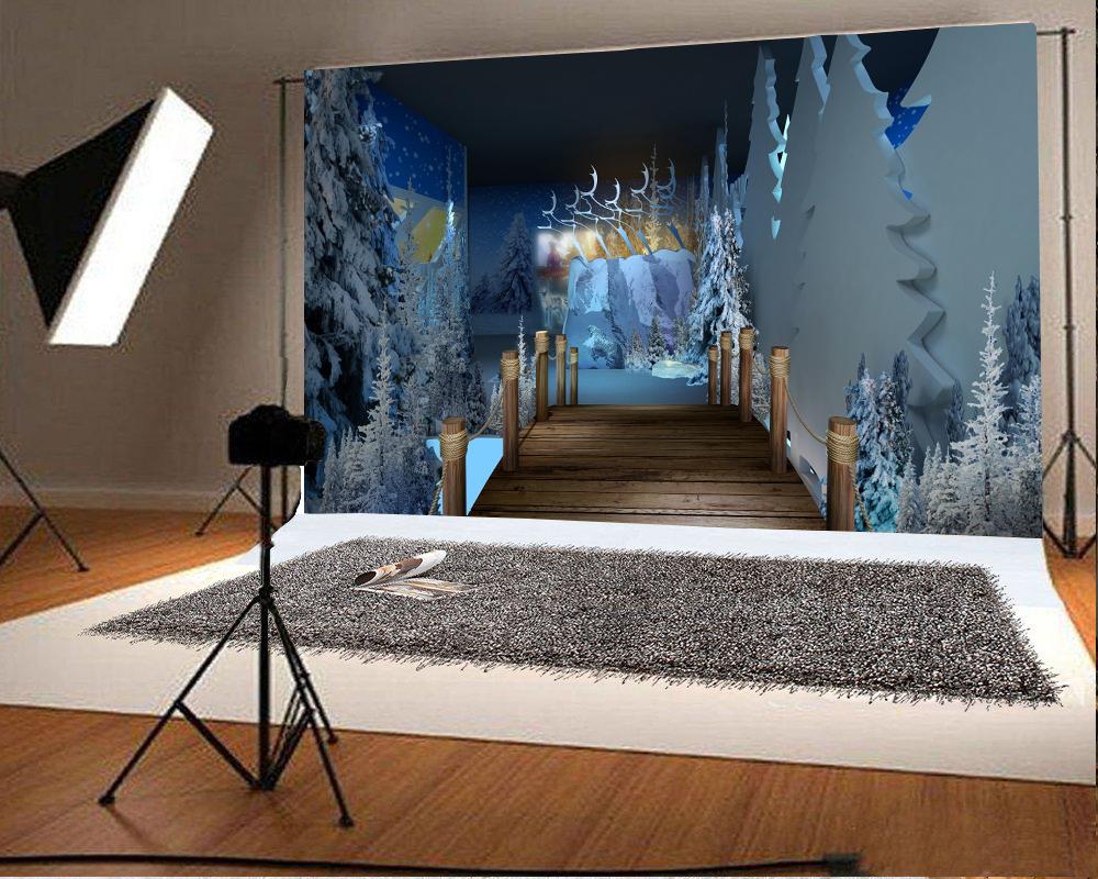 Wood Bridge Photo Background 7x5ft Studio Props Christmas