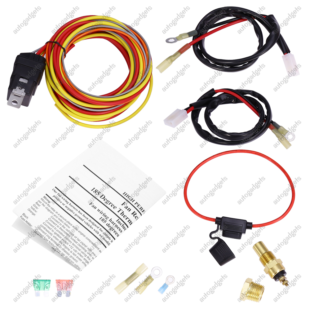 165 To 185 Dual Electric Fan Relay Wiring Harness 40AMP ... Fan Relay Wiring Thermostat on