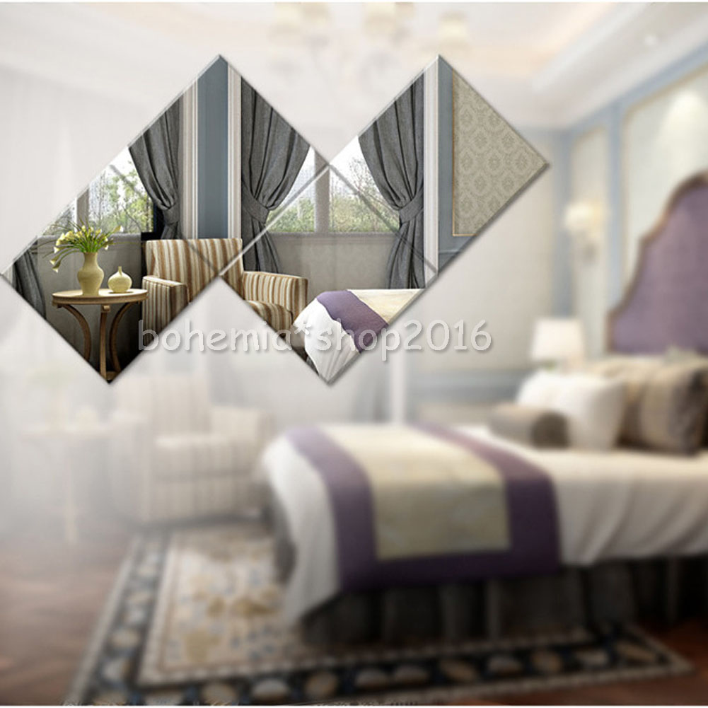 16 st ck spiegelfolie diy wandspiegel quadrat sticker. Black Bedroom Furniture Sets. Home Design Ideas
