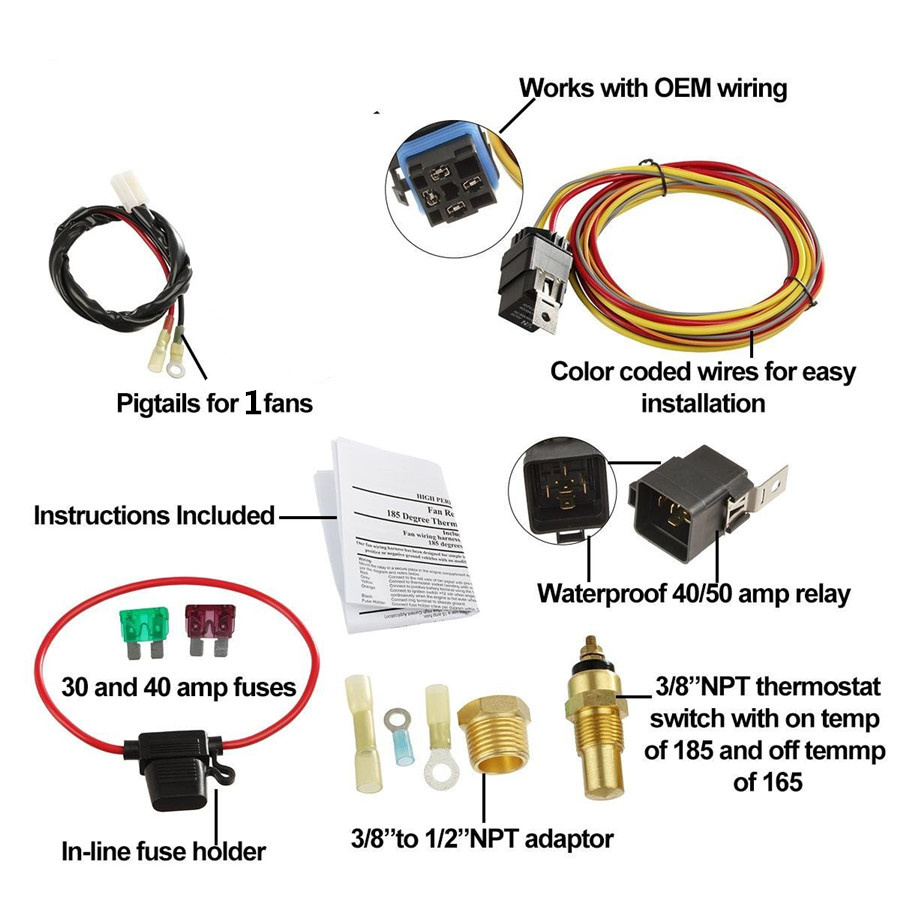 Universal Electric Cooling Fan Wiring Harness 185 165 Hermostat 40a Relay Kit