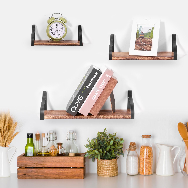 Details about 3 PCS Wall Floating Shelves Wood for Bathroom Living Room  Bedroom Office