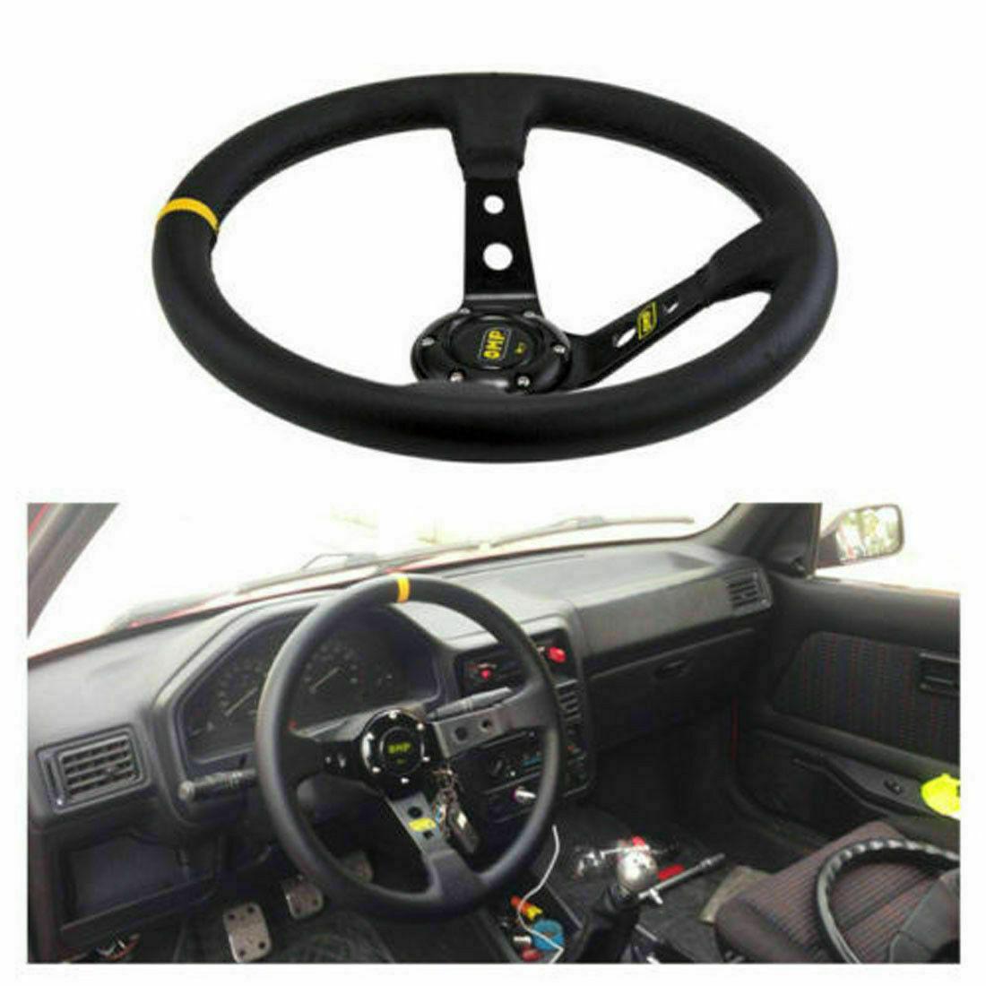 13 8 Inch 350mm Suede Leather Deep Dish Jdm Sport Racing Car Steering Wheel Mos Ebay