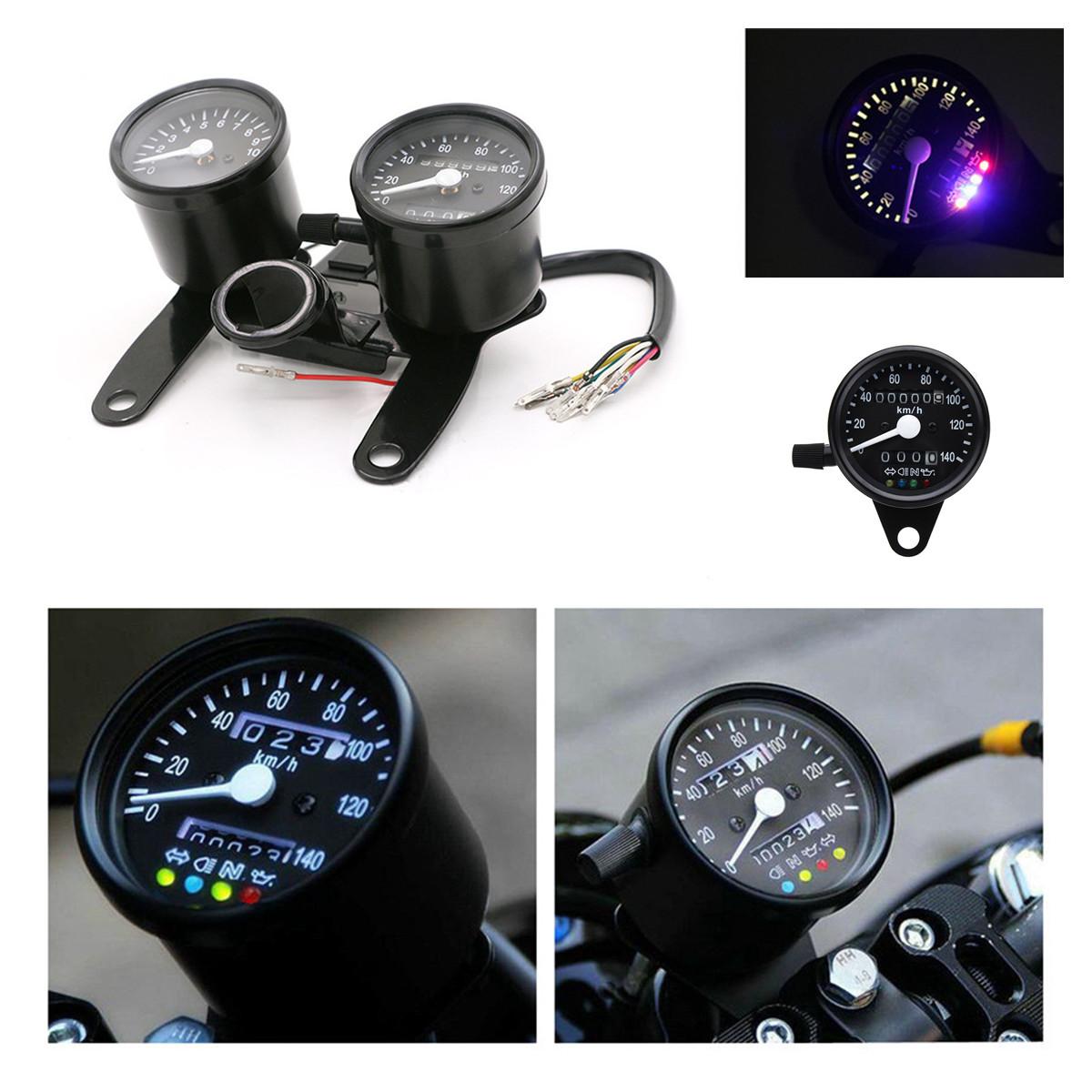 Round Motorcycle Speedometer Tachometer Odometer For Bobber Chopper Cafe Racer