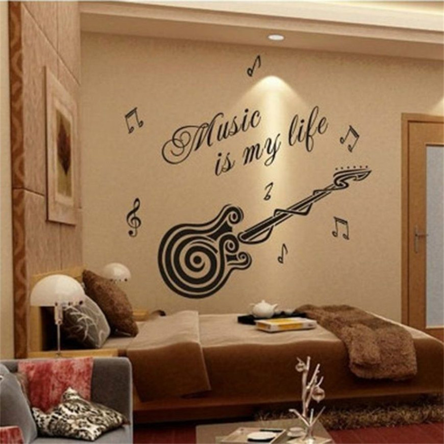Music Is My Life Guitar Pattern Vinyl Wall Sticker Decals Mural Room Home  Decor