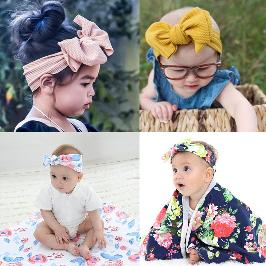4Pcs//Set Baby Girl Large Bow Headbands Nylon Toddler Elastic Head Accessories
