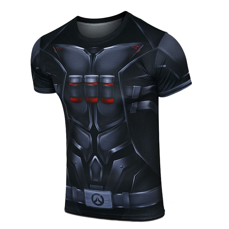 Overwatch Lucio Cosplay Muscle Shirt Compression Gym T-Shirt for Men