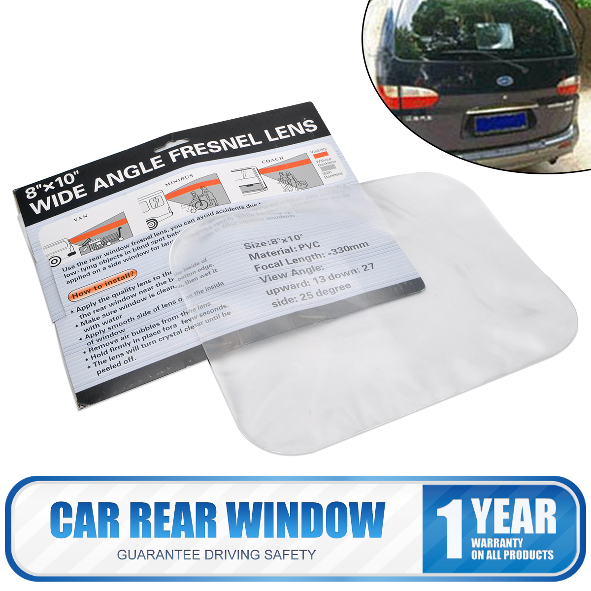 "WIDE ANGLE CAR REAR WINDOW FRESNEL LENS VIEW OPTICAL 8/""x10/"" Reversing Parking"