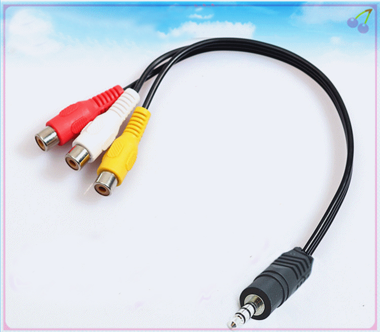 1pc 3 5mm Male Plug To 3 Rca Red Yellow White Female