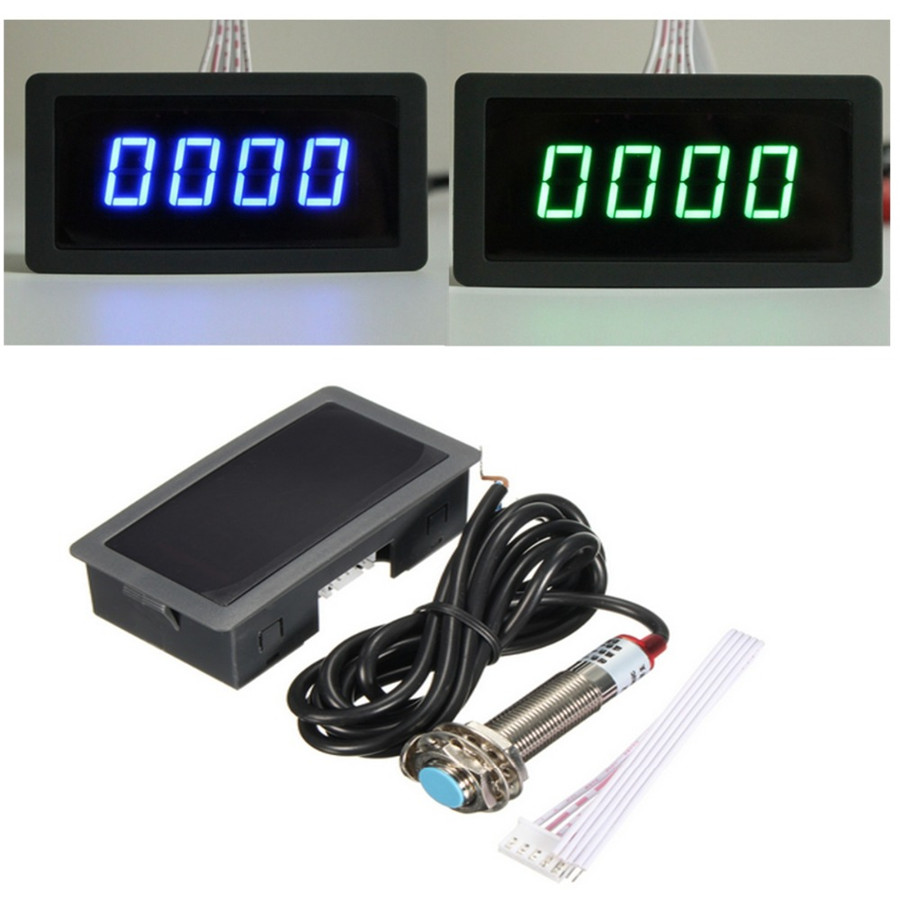 8 24v Car 4 Digital Red Led Tachometer Rpm Speed Meternpn Hall Tach Wiring Diagram On A 87 Ford F150 In Addition Diesel Meter 10 9999rpm Speedometer Pusle Signal Npn Proximity Switch Sensor 3 Wires