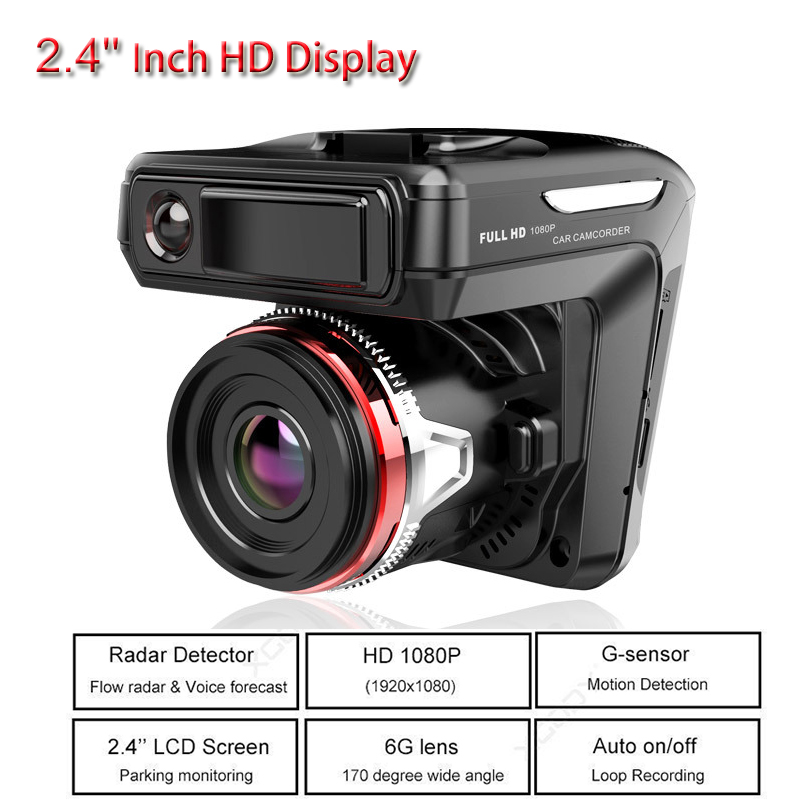 2in1 Car DVR Detector Camera Video Recorder Dash Cam Radar Laser Speed HD 1080P