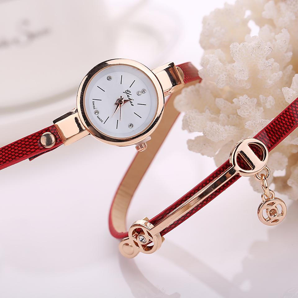 new fashion women bracelet bangle leather crystal dial quartz analog wrist watch ebay