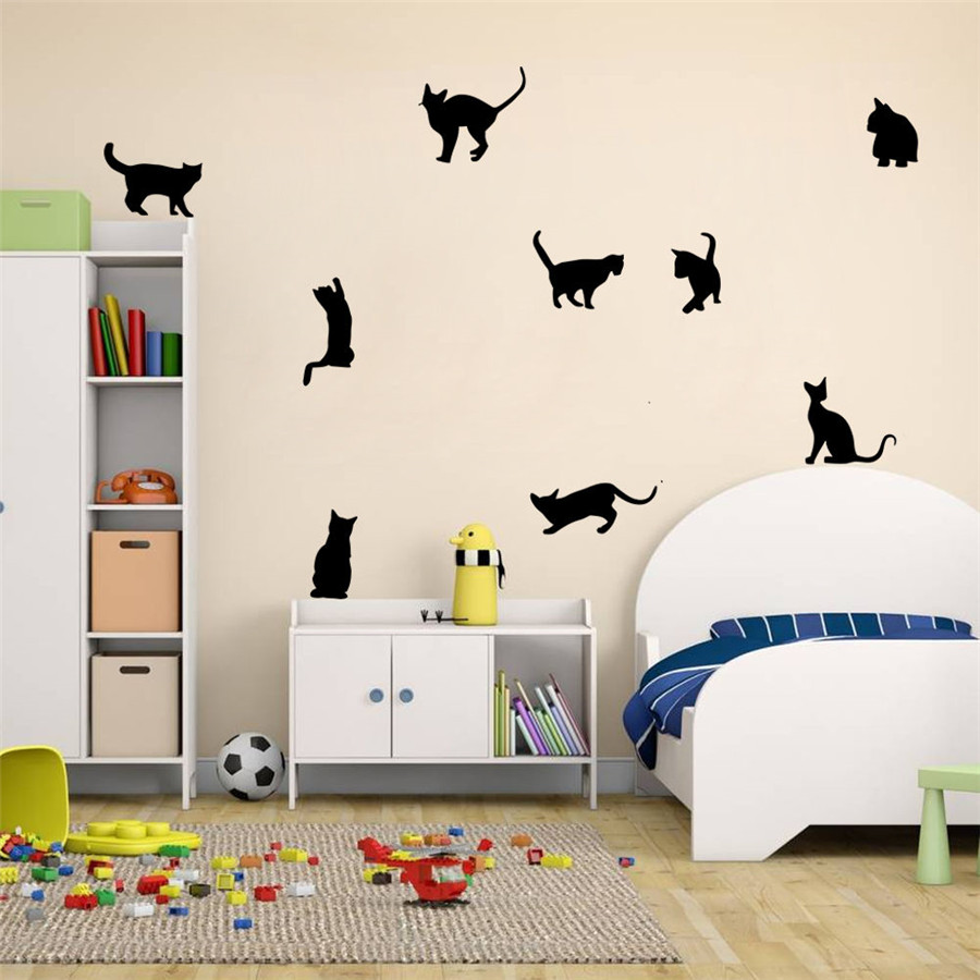 Cats wall stickers vinyl home decal diy art decor kids for Cat decorations home