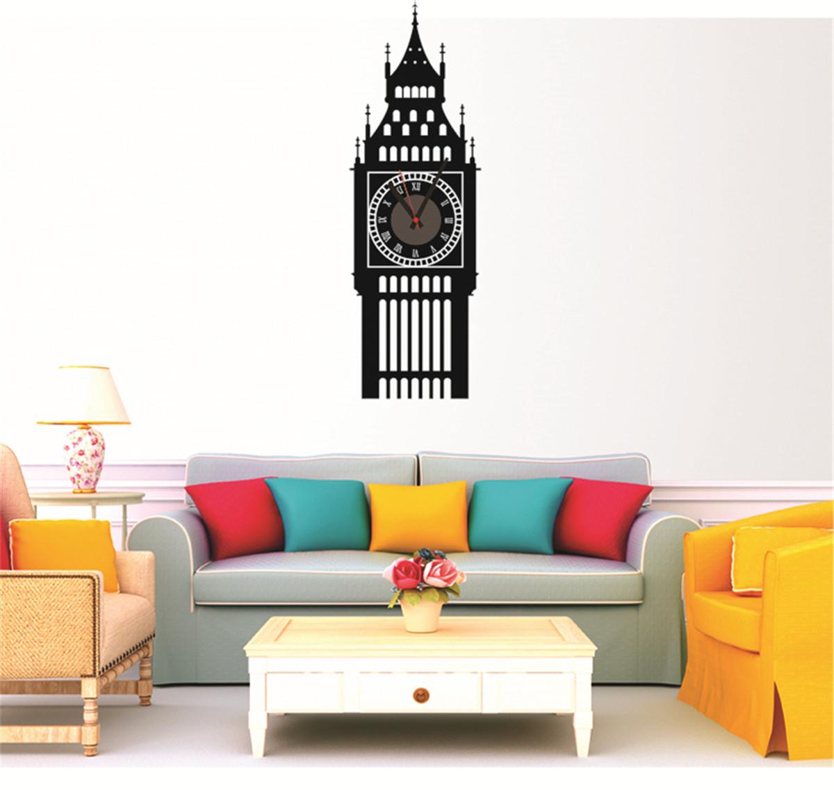 Home Living Room DIY Big Ben Office Room Decor 3D Mirror Sticker ...